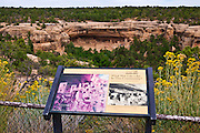 Interpretive sign at Cliff Palace Ruin, Mesa Verde National Park, Colorado