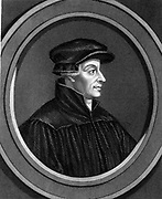 Ulrich Zwingli (1481-1531) Swiss Reformation divine. Chaplain to Swiss forces during Second War of Kappel when he was killed in battle. Steel engraving, 1851