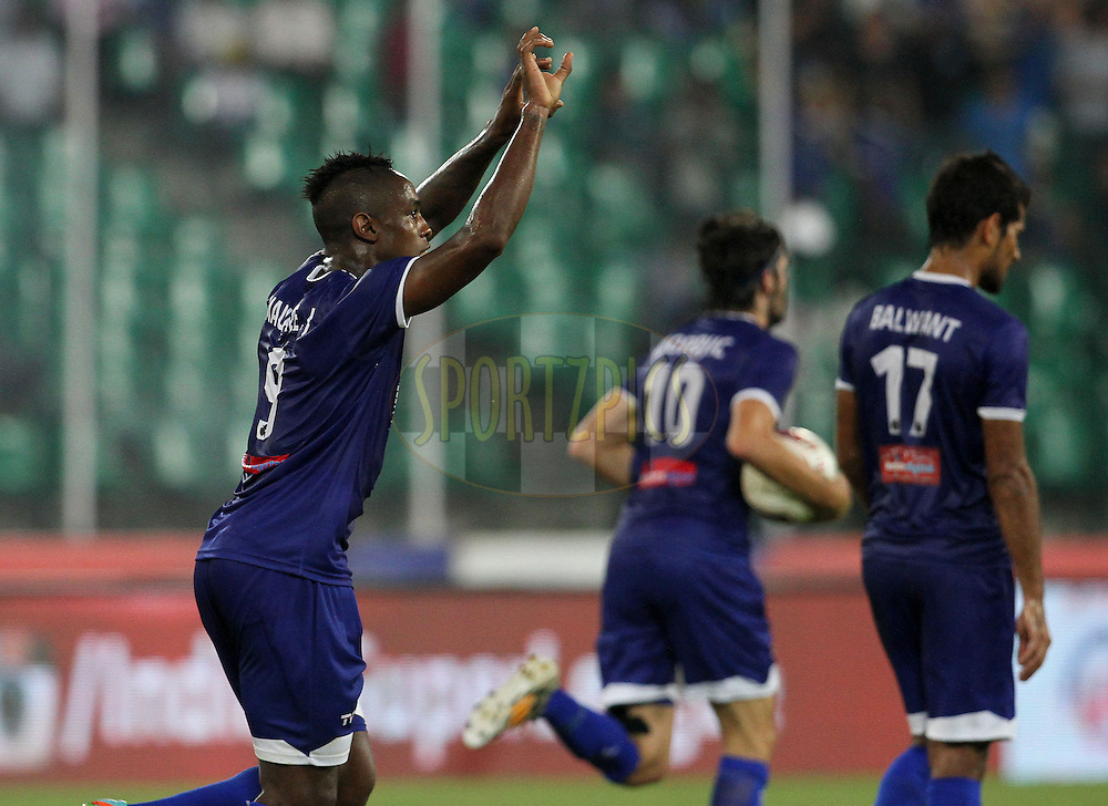 Jean Eudes Maurice of Chennaiyin FC celebrates a goal during match 50 of the Hero Indian Super League between Chennaiyin FC and FC Goa held at the Jawaharlal Nehru Stadium, Chennai, India on the 5th December 2014.<br /> <br /> Photo by:  Vipin Pawar/ ISL/ SPORTZPICS