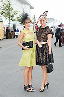 Claudia Staggiari and Kelli O Dell Sydney living in London who went on to win in the Anthony Ryan's Best Dressed ladies day at the Galway . Photo:Andrew Downes.Photo issued with Compliments, No reproduction fee on first use