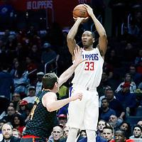 08 January 2018: LA Clippers forward Wesley Johnson (33) takes a jump shot over Atlanta Hawks forward Tyler Cavanaugh (34) during the LA Clippers 108-107 victory over the Atlanta Hawks, at the Staples Center, Los Angeles, California, USA.