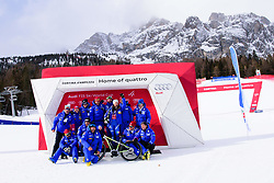 January 19, 2018 - Cortina D'Ampezzo, Dolimites, Italy - Sofia Goggia of Italy and her team on podium celebrating her victory at the Cortina d'Ampezzo FIS World Cup in Cortina d'Ampezzo, Italy on January 19, 2018. (Credit Image: © Rok Rakun/Pacific Press via ZUMA Wire)