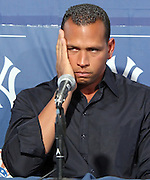 New York Yankees' Alex Rodriguez talks to the media about taking steroids in the past during a press conference at George M. Steinbrenner Field in Tampa Florida.