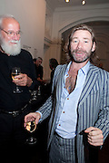 MAT COLLISHAW WITH HIS FATHER, Private view and Summer party to celebrate Haunch of Venison's exhibition. Joanna Vasconcelos; I will Survive and Polly Morgan: Psychopomps. Dover st. arts Club. 20 July 2010. -DO NOT ARCHIVE-© Copyright Photograph by Dafydd Jones. 248 Clapham Rd. London SW9 0PZ. Tel 0207 820 0771. www.dafjones.com.