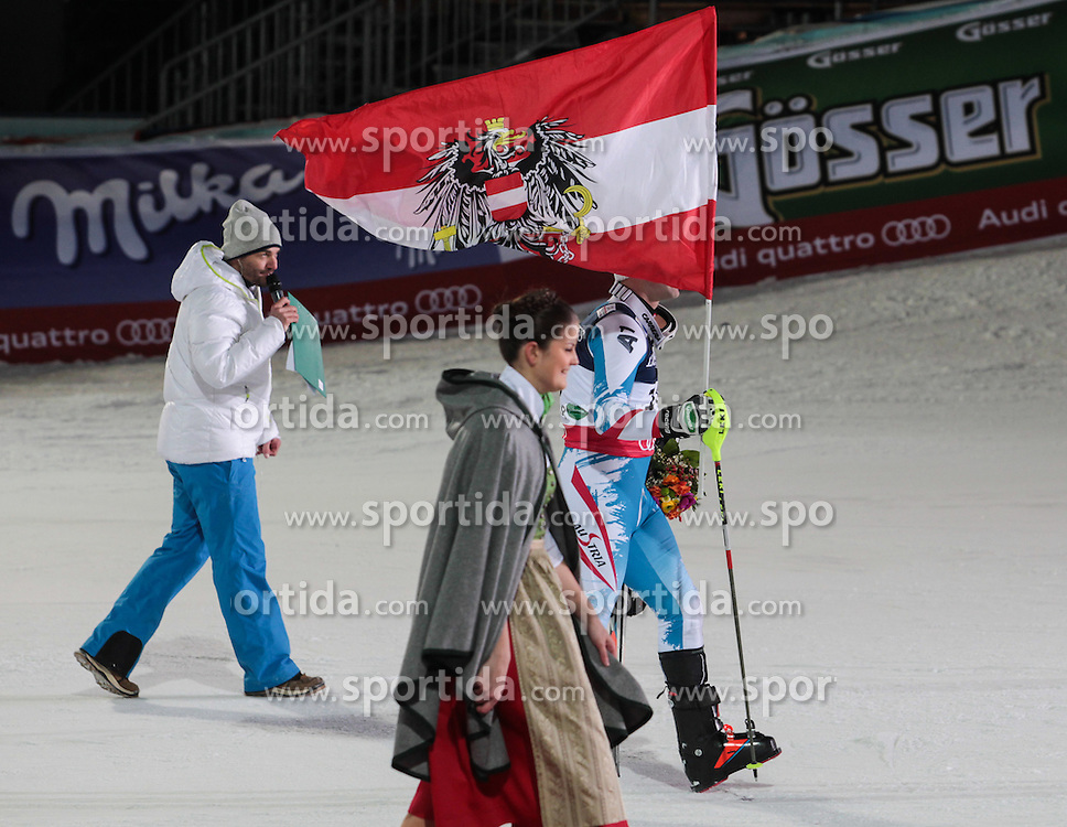 11.02.2013, Planai, Schladming, AUT, FIS Weltmeisterschaften Ski Alpin, Super Kombination, Slalom, Herren, Siegerpraesentation, im Bild Romed Baumann (AUT, 3. Platz) // Romed Baumann of Austria, 3rd place, Winners Presentation, after teir runs at Mens Super Combined Slalom at the FIS Ski World Championships 2013 at the Planai Course, Schladming, Austria on 2013/02/11. EXPA Pictures © 2013, PhotoCredit: EXPA/ Sammy Minkoff