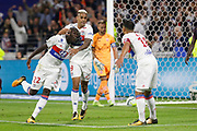 Ferland Mendy (OL) Mariano Diaz (OL) Nabil Fekir (OL) celebrate during the French Championship Ligue 1 football match between Olympique Lyonnais and Dijon FCO on September 23, 2017 at Groupama stadium in Lyon, France - Photo Romain Biard / Isports / ProSportsImages / DPPI
