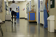 Prisoners in the corridor of the education unit. HMP The Mount, Bovingdon, Hertfordshire