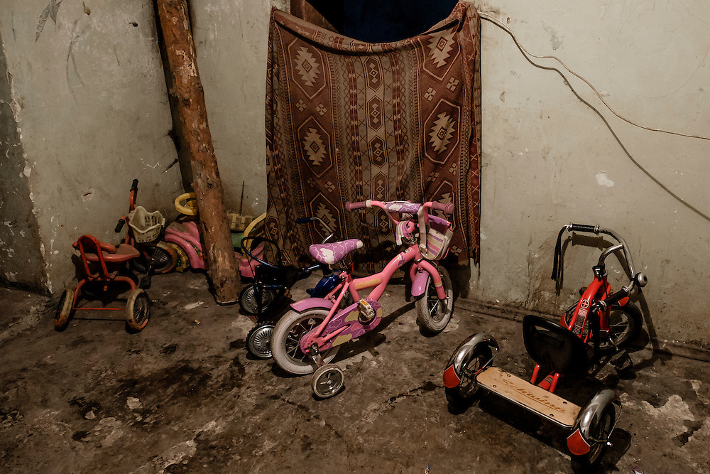 12 of April 2015 / Petrovski/ Donetsk Oblast/ Ukraine - Kidd's bicycle belonging to the several families could live in the bunker (up to 70 people at a time).
