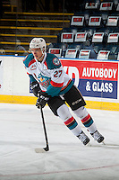 KELOWNA, CANADA - JANUARY 7: Calvin Thurkauf #27 of the Kelowna Rockets warms up with the puck against the Kamloops Blazers on January 7, 2017 at Prospera Place in Kelowna, British Columbia, Canada.  (Photo by Marissa Baecker/Shoot the Breeze)  *** Local Caption ***
