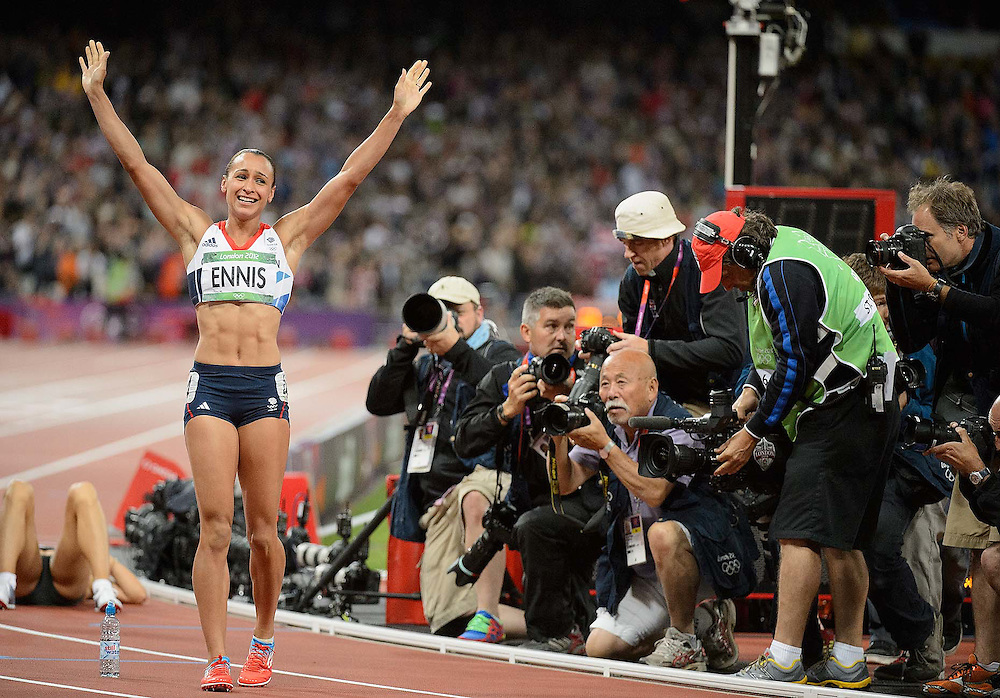 Athletics- Day 8 Jessica Ennis after winning the heptathlon at the Olympic Stadium, during the 2012 London Olympic Games.