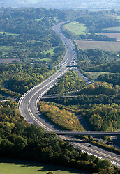 © under license to London News Pictures.  File picture dated 11/10/2010. M23 motorway near Junction 7 with the M25 in Surrey.. The M25 will tomorrow (29/10/2011) be 25 years old. 117-mile London Orbital motorway was opened by then Prime Minister Margaret Thatcher on October 29, 1986. Photo credit: London News Pictures.