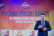 Szymon Kolecki - President of Polish Weightlifting Federation (former weightlifter, silver medallist Olympic Games at 2000 in Sydney and 2008 in Beijing) during Women's Weightlifting Polish Cup 2014 in Jozefow near Warsaw on March 30, 2014.<br /> <br /> Poland, Jozefow, March 30, 2014<br /> <br /> Picture also available in RAW (NEF) or TIFF format on special request.<br /> <br /> For editorial use only. Any commercial or promotional use requires permission.<br /> <br /> Mandatory credit:<br /> Photo by &copy; Adam Nurkiewicz / Mediasport