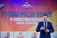 Szymon Kolecki - President of Polish Weightlifting Federation (former weightlifter, silver medallist Olympic Games at 2000 in Sydney and 2008 in Beijing) during Women's Weightlifting Polish Cup 2014 in Jozefow near Warsaw on March 30, 2014.<br /> <br /> Poland, Jozefow, March 30, 2014<br /> <br /> Picture also available in RAW (NEF) or TIFF format on special request.<br /> <br /> For editorial use only. Any commercial or promotional use requires permission.<br /> <br /> Mandatory credit:<br /> Photo by © Adam Nurkiewicz / Mediasport