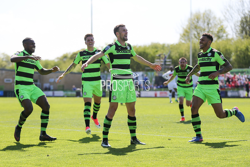 Forest Green Rovers Christian Doidge(9) scores a goal 1-0 and celebrates during the Vanarama National League Play Off second leg match between Forest Green Rovers and Dagenham and Redbridge at the New Lawn, Forest Green, United Kingdom on 7 May 2017. Photo by Shane Healey.