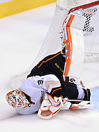 Mar. 2, 2013; Glendale, AZ, USA; Anaheim Ducks goalie Viktor Fasth (30) makes the save against the Phoenix Coyotes in the second period at Jobing.com Arena. Mandatory Credit: Jennifer Stewart-USA TODAY Sports