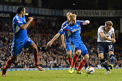 Tottenham's Harry Kane scores a goal - Photo mandatory by-line: Mitchell Gunn/JMP - Tel: Mobile: 07966 386802 30/10/2013 - SPORT - FOOTBALL - White Hart Lane - London - Tottenham Hotspur v Hull City - Capital One Cup - Forth Round