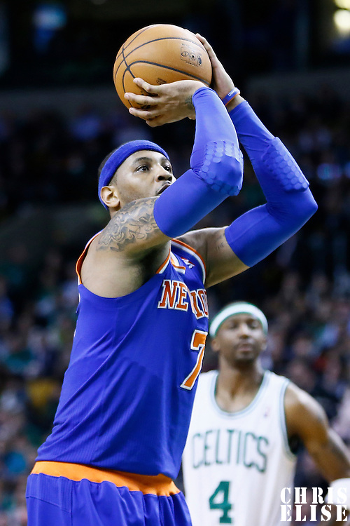 26 March 2013: New York Knicks small forward Carmelo Anthony (7) is seen at the free throw line during the New York Knicks 100-85 victory over the Boston Celtics at the TD Garden, Boston, Massachusetts, USA.