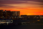 04 DECEMBER 2008 -- PHOENIX, AZ: The sun rises over Sky Harbor Airport in Phoenix, AZ.  PHOTO BY JACK KURTZ