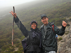 Canadian climbers on holidays Mira-Shant Staffieri and Jerone Febiney  from Montreal climbed Croagh Patrick on sunday last.<br /> Pic Conor McKeown