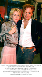 PRINCE VALERIO MASSIMO and MISS ANTONIA HEDLEY-DENT, at a party in London on 7th May 2003.	PJJ 245