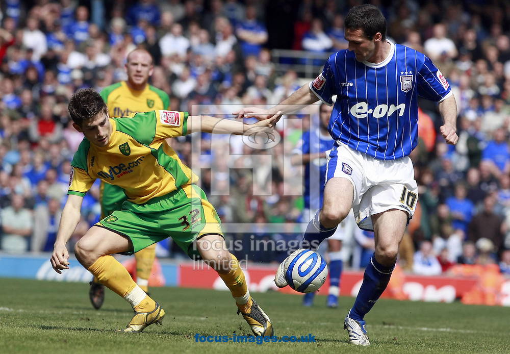 Ipswich - Sunday April 13th, 2008: Tommy Miller of Ipswich Town and Ched Evans of Norwich City during the Coca Cola Championship match at Portman Road, Ipswich. (Pic by Christian Kane/Focus Images)