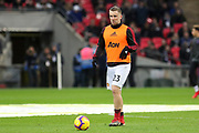 Manchester United Defender Luke Shaw warm up during the Premier League match between Tottenham Hotspur and Manchester United at Wembley Stadium, London, England on 13 January 2019.