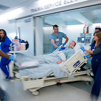 VAP - Trauma team moving patient Cedars-Sinai Medical Center on Thursday, April 18, 2013.  Photo by Cedars-Sinai Medical Center
