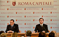 Roma 12 Febbraio  2013.Silvio Berlusconi  in Campidoglio con il sindaco Gianni Alemanno per la campagna elettorale.  ..Former Italian Prime Minister and leader of PDL center right party,Silvio Berlusconi rallies in Rome  the Campidoglio with Gianni Alemanno, mayor of Rome,  during his electoral campaign. Elections are scheduled for 24-25 ferbruary 2103...