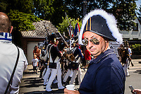 20150614 Ligny Belgium. The Battle of Ligny (16 June 1815) was the last victory of the military career of Napoleon I.Today it was re-enacted by 1500 people just a few days before the 200th birth day of Napoleon's final loss at Waterloo.Tourists watch the soldiers march through the village
