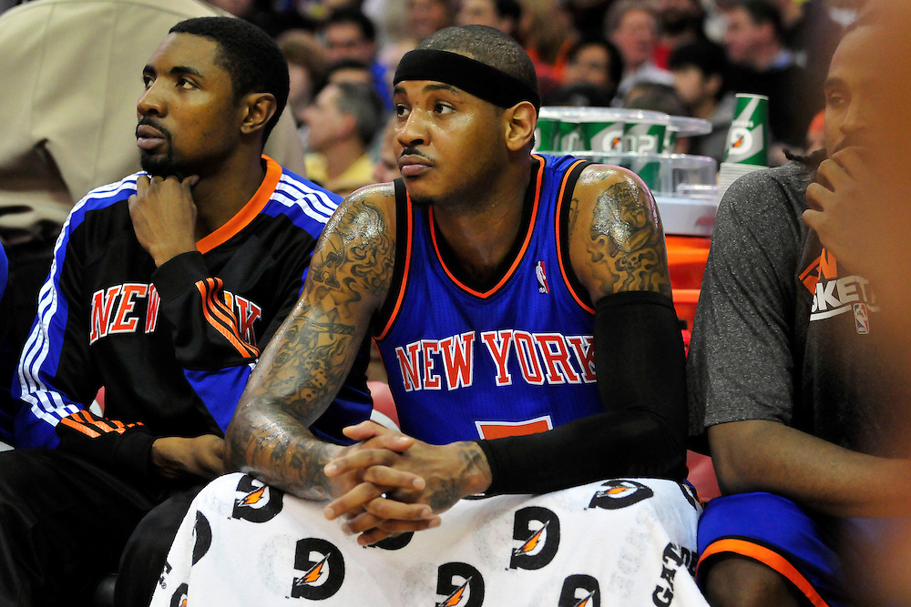Feb. 25, 2011; Cleveland, OH, USA; New York Knicks small forward Carmelo Anthony (7) sits on the bench during the second quarter at Quicken Loans Arena. Mandatory Credit: Jason Miller-US PRESSWIRE