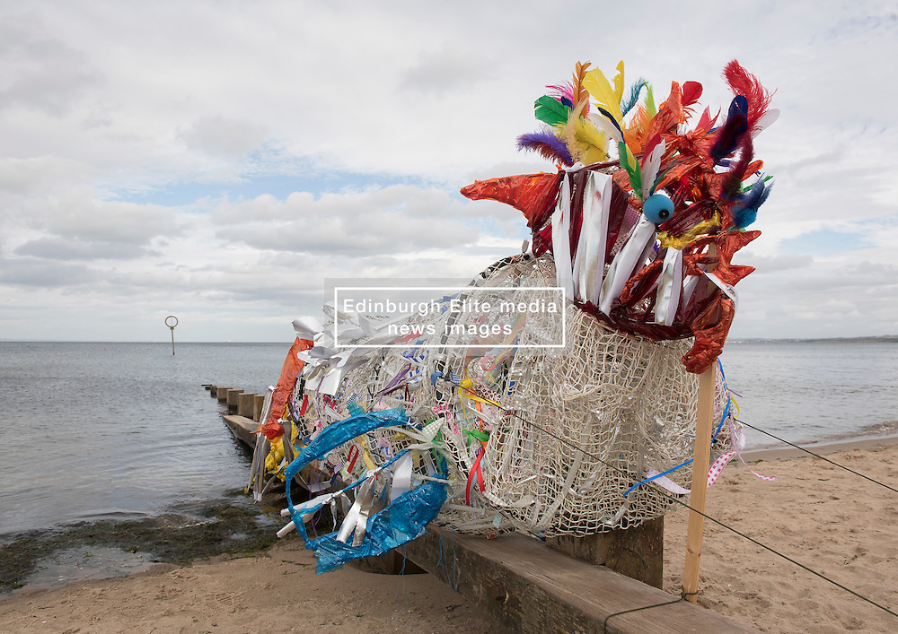 Across Portobello, Edinburgh artists are getting ready for this weekend's Art Walk Porty. A mixture of open studios, pop-up exhibition spaces, artists market and site-specitic art all over the Edinburgh suburb this weekend. The official launch takes place tonight (Thursday) but the event runs from Fri-Sun Sept 2nd-4th. 2016. Pictured: Sea monster Cirein Croin by Fiona Hermae, working with Leonard Cheshire Disability. <br /> <br /> <br /> © Jon Davey/ EEm