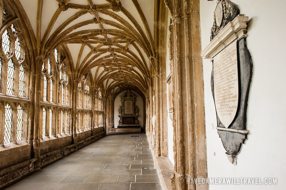 Interior cloisters of Wells Cathedral in Wells, Somerset, United Kingdom. Some of the building dates back to the 10th Century.