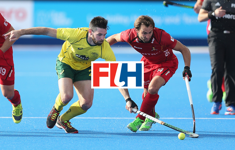 LONDON, ENGLAND - JUNE 14:  Trent Mitton of Australia and Emmanuel Stockbroekx during the FIH Mens Hero Hockey Champions Trophy match between Australia and Belgium at Queen Elizabeth Olympic Park on June 14, 2016 in London, England.  (Photo by Alex Morton/Getty Images)