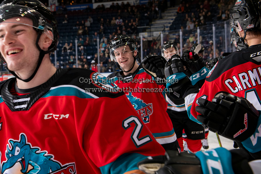 KELOWNA, BC - NOVEMBER 20: Mark Liwiski #9 of the Kelowna Rockets celebrates a second period goal against the Victoria Royals  at Prospera Place on November 20, 2019 in Kelowna, Canada. (Photo by Marissa Baecker/Shoot the Breeze)