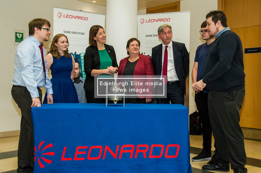 Pictured: Graduates James Stevenson, Erin Gordon and apprentocers Gavin Davis and Fergus McCarter met Scottish Labour leader Kezia Dugdale, Shadow Economy Secretary Jackie Baillie and Shadow Economy minister Richard Leonard.<br /> Scottish Labour leader Kezia Dugdale, Shadow Economy Secretary Jackie Baillie and Shadow Economy minister Richard Leonard visited Leonardo Airborne and Space Systems today to launch Scottish Labour's industrial strategy. <br />  <br /> Ger Harley   EEm 6 July  2017