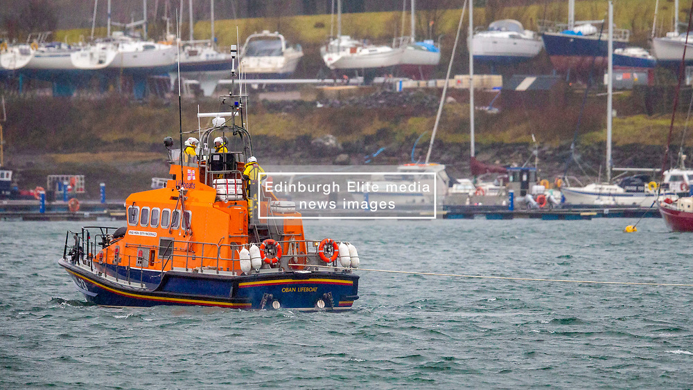 As high winds sweep the west coast Oban's RNLB Mora Edith McDonald was tasked to assist the 63 metre general cargo vessel CEG Galaxy which was dragging it's anchor in Oban Bay.... (c) Stephen Lawson | Edinburgh Elite media