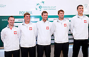 (L-R) Radoslaw Szymanik - captain national team & Marcin Matkowski & Mariusz Fyrstenberg & Lukasz Kubot & Jerzy Janowicz all from Poland while official draw one day before the BNP Paribas Davis Cup 2013 between Poland and South Africa at MOSiR Hall in Zielona Gora on April 04, 2013...Poland, Zielona Gora, April 04, 2013..Picture also available in RAW (NEF) or TIFF format on special request...For editorial use only. Any commercial or promotional use requires permission...Photo by © Adam Nurkiewicz / Mediasport