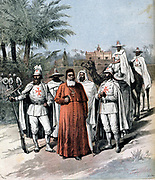 Cardinal Lavigerie (1825-1892) and some of his band of White Fathers who dedicated their lives to the cause of abolition of slave trade in Central Africa. Founded Anti-Slavery Society, 1888. From 'Le Petit Journal', Paris,  15 December 1891.