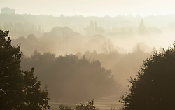 ©Licensed to London News Pictures 09/11/2019.<br /> Orpington,UK. A cold and misty landscape this morning across Cray Valley golf club, Orpington, South East London. Photo credit: Grant Falvey/LNP