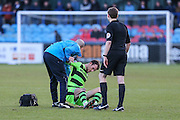Forest Green Rovers Christian Doidge(9) injured and has to go off during the FA Trophy match between Macclesfield Town and Forest Green Rovers at Moss Rose, Macclesfield, United Kingdom on 4 February 2017. Photo by Shane Healey.