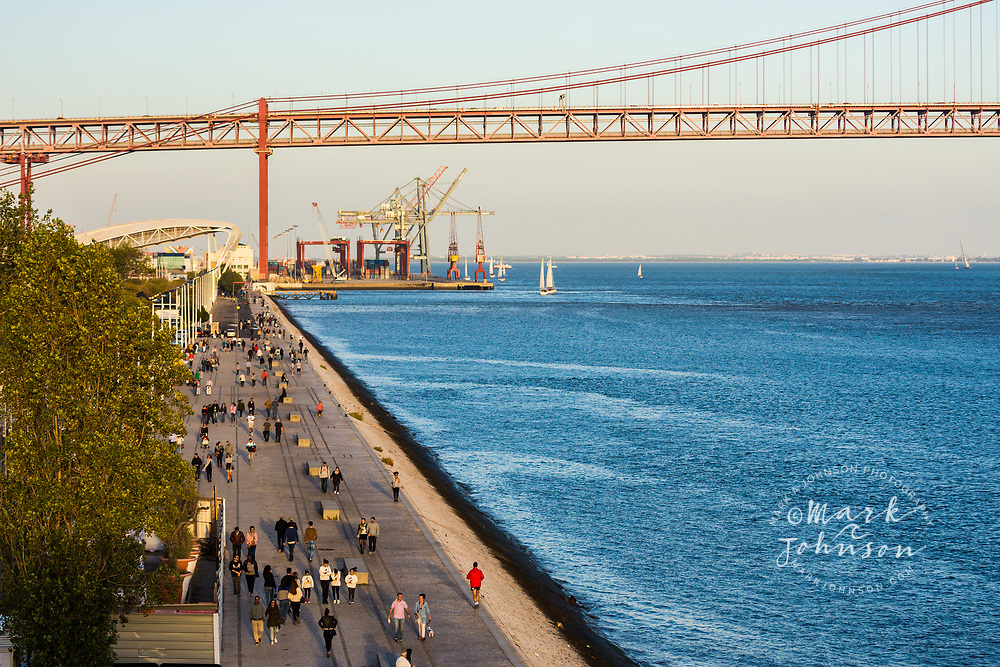 Tagus River promenade near the MAAT Museum, Lisbon, Portugal