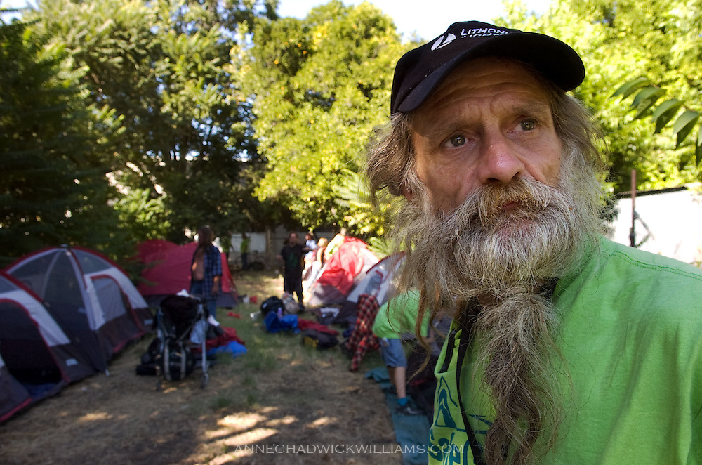 "John Kraintz, 55, a homeless leader looks over a ""safe ground"" location on C St. that about 30 homeless moved to on August 21, 2009."