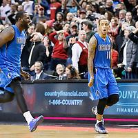 07 December 2013: Dallas Mavericks shooting guard Monta Ellis (11) celebrates his game winning shot at the buzzer with 1.9 second remaining during the Dallas Mavericks 108-106 victory over the Portland Trail Blazers at the Moda Center, Portland, Oregon, USA.