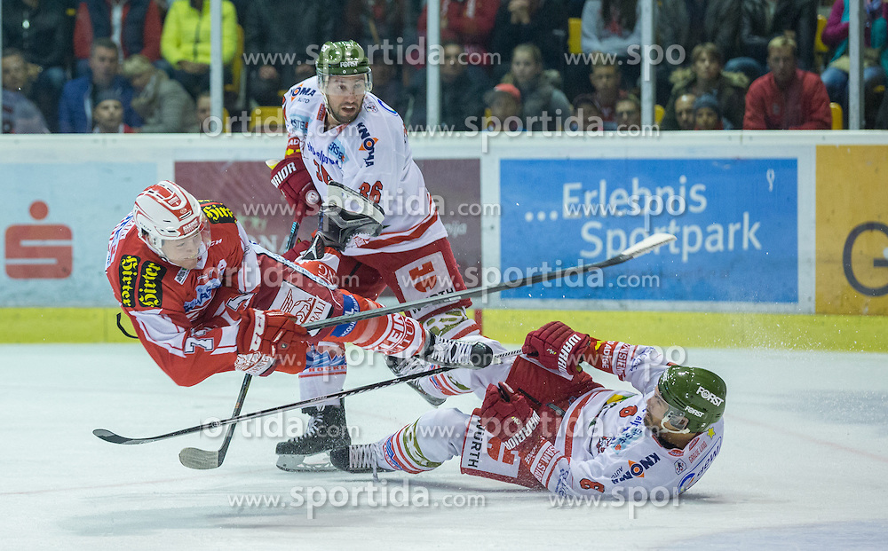 27.09.2015, Stadthalle, Klagenfurt, AUT, EBEL, EC KAC vs HCB Suedtirol, im Bild Jamie Lundmark (EC KAC, #74), Broda Joel (HCB Suedtirol #26), McMonagle Sean (HCB Suedtirol #6) // during the Erste Bank Eishockey League match betweeen EC KAC and HCB Suedtirol at the City Hall in Klagenfurt, Austria on 2015/09/27. EXPA Pictures © 2015, PhotoCredit: EXPA/ Gert Steinthaler