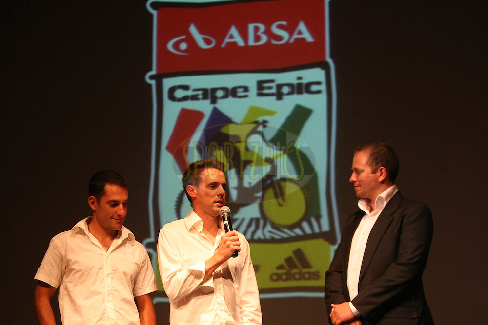 Kevin Evan and David George with Dan Nicholl during the 2011 ABSA Cape Epic Dinner held at The Venue in Melrose Arch, Johannesburg, South Africa on the 27 October 2010..Photo by:  Trevor Kolk/SPORTZPICS