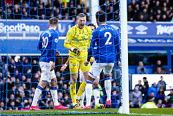Jordan Pickford of Everton celebrates making a save from Odion Ighalo of Manchester United - Mandatory by-line: Robbie Stephenson/JMP - 01/03/2020 - FOOTBALL - Goodison Park - Liverpool, England - Everton v Manchester United - Premier League