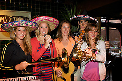 LIVERPOOL, ENGLAND - Wednesday, June 11, 2008: Young stars of the Tradition-ICAP Liverpool International Tennis Tournament enjoy a night out at Cantina Tequila. L-R: Tamaryn Hendler, Caroline Wozniacki, Olga Savchuk, Bernard Tomic and Katarzyna Piter. (Photo by David Rawcliffe/Propaganda)