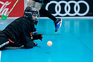 Graz, Austria - 2017 March 23: Floor Ball Match between SO Ireland (green) and SO Sweden (yellow) while Special Olympics World Winter Games Austria 2017 at Convention Centre Messe Graz on March 23, 2017 in Graz, Austria.<br /> <br /> Mandatory credit:<br /> Photo by © Adam Nurkiewicz / Mediasport<br /> <br /> Adam Nurkiewicz declares that he has no rights to the image of people at the photographs of his authorship.<br /> <br /> Picture also available in RAW (NEF) or TIFF format on special request.<br /> <br /> Any editorial, commercial or promotional use requires written permission from the author of image.<br /> <br /> Image can be used in the press when the method of use and the signature does not hurt people on the picture.