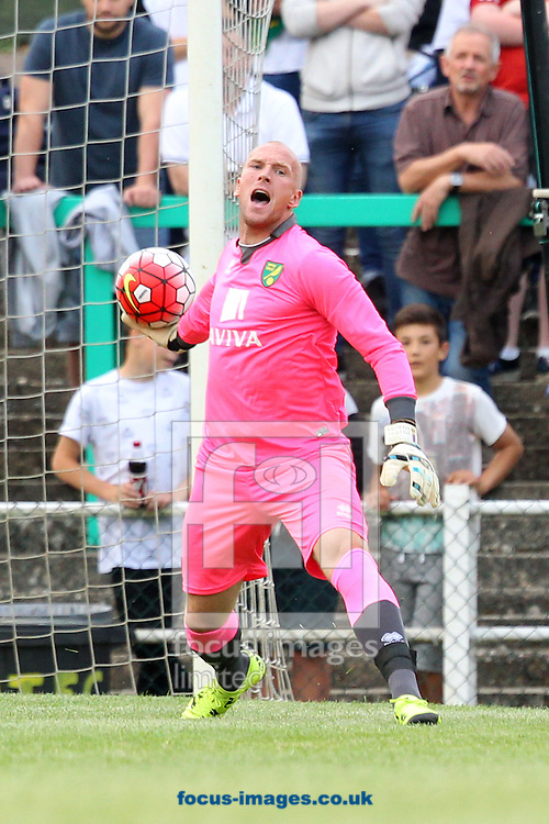 John Ruddy of Norwich in action during the pre season friendly match at Top Field, Hitchin<br /> Picture by Paul Chesterton/Focus Images Ltd +44 7904 640267<br /> 14/07/2015
