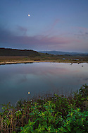 Moon rising in evening over tidal estuary at Pescadero Marsh Natural Preserve, Pescadero, San Mateo County Coast, Caliifornia